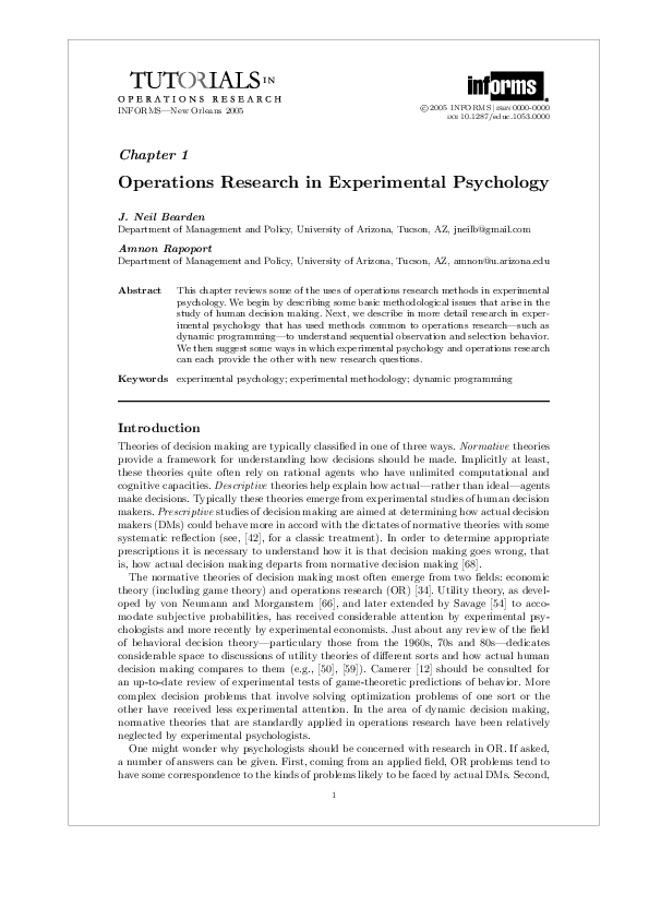 PDF) Operations Research in Experimental Psychology | Amnon