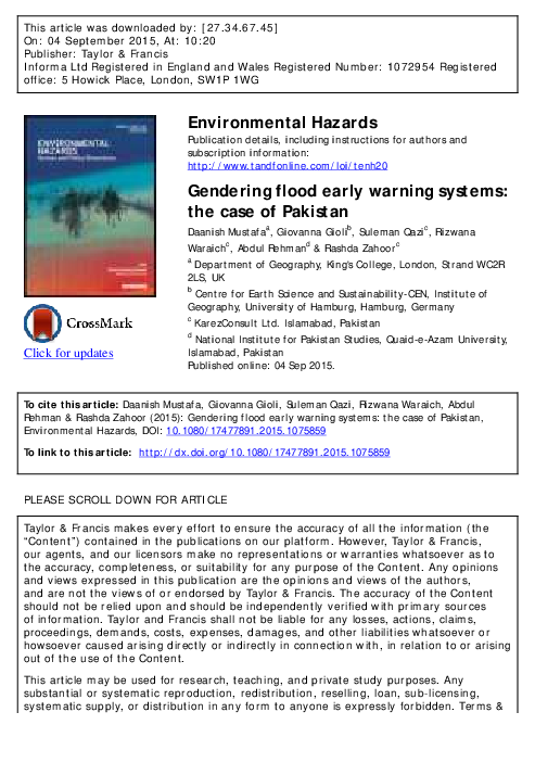 PDF) Gendering flood early warning systems: the case of