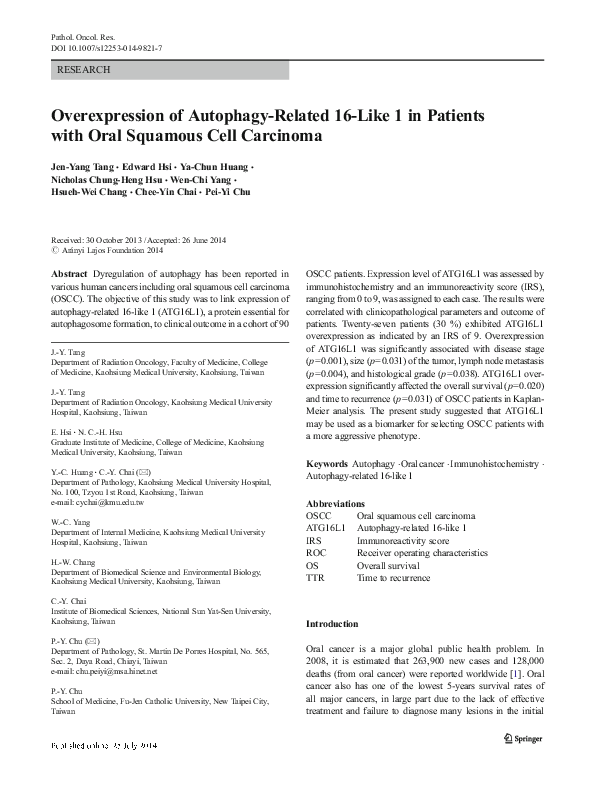 PDF) Overexpression of Autophagy-Related 16-Like 1 in
