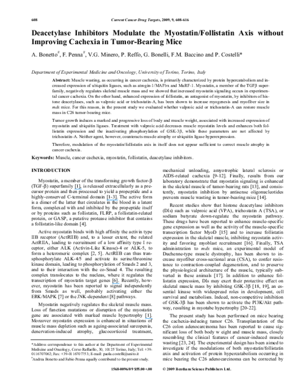 PDF) Deacetylase Inhibitors Modulate the Myostatin/Follistatin Axis