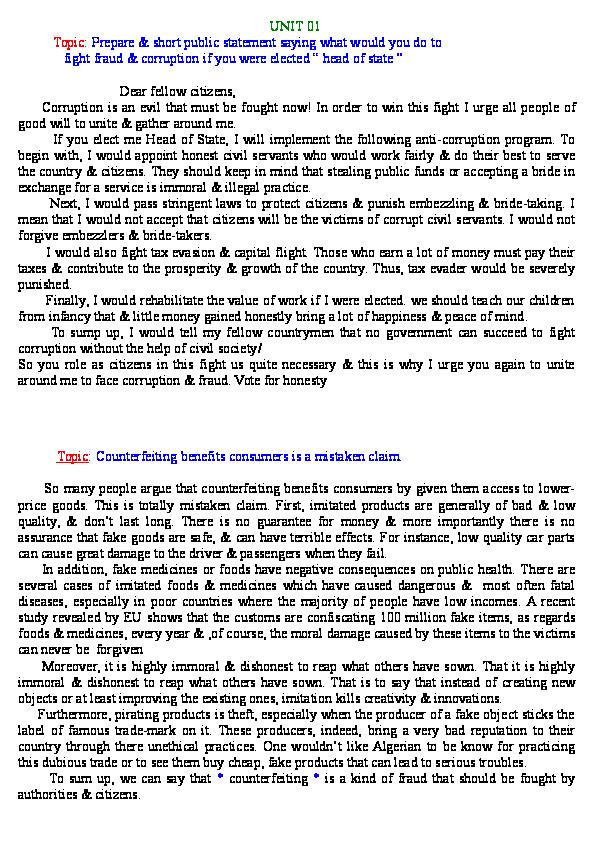 short paragraph on corruption