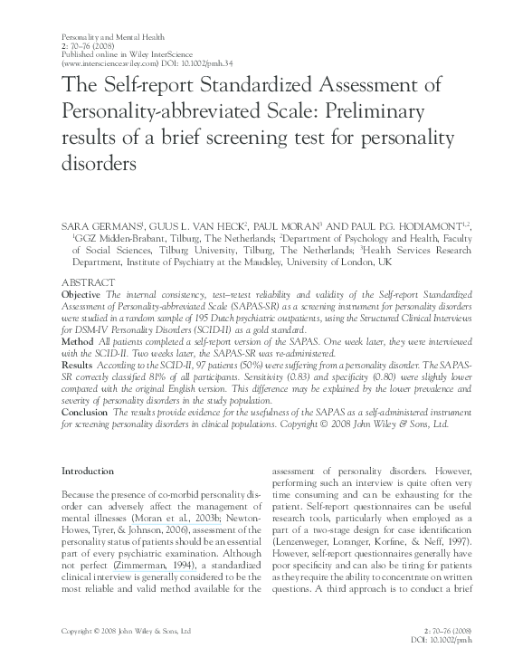 Pdf The Self Report Standardized Assessment Of Personality Abbreviated Scale Preliminary Results Of A Brief Screening Test For Personality Disorders Paul Moran Academia Edu