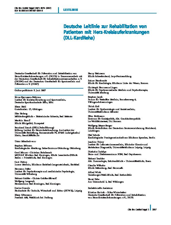 Pdf Deutsche Leitlinie Zur Rehabilitation Von Patienten Mit