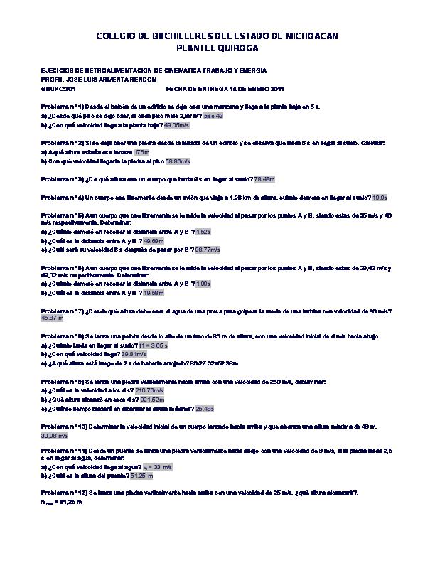 Doc Ejercicios De Caida Libre Jan Maikol Vargas Mendoza