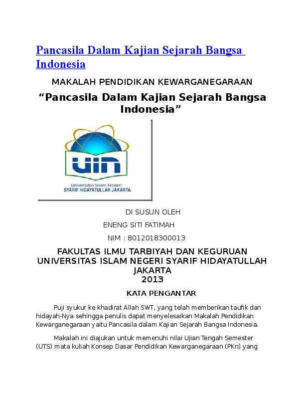 Doc Pancasila Dalam Kajian Sejarah Bangsa Indonesia Mochammad Arief Hidayat Academia Edu