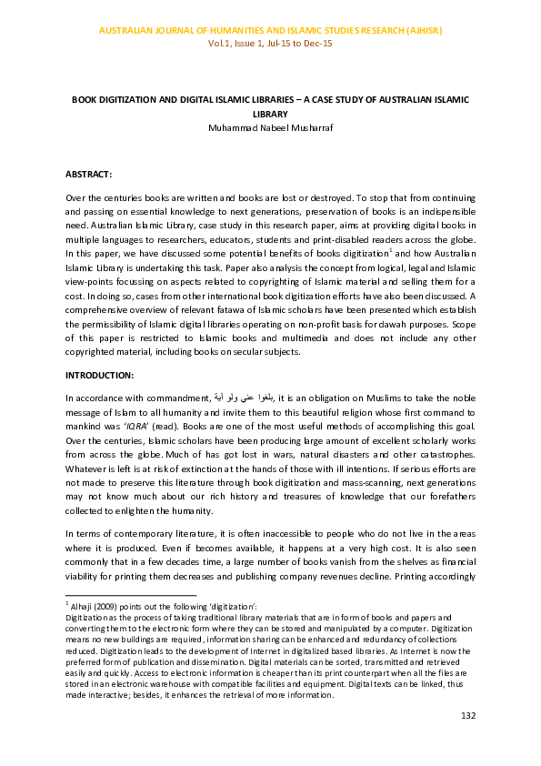 PDF) BOOK DIGITIZATION AND DIGITAL ISLAMIC LIBRARIES – A CASE STUDY