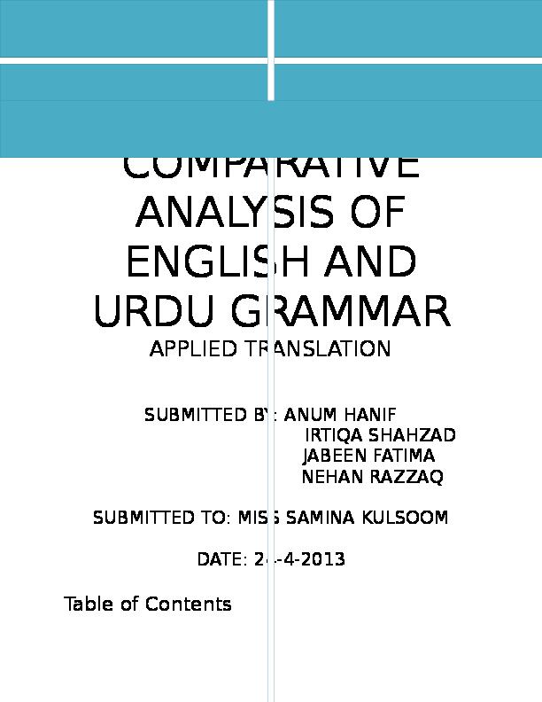 DOC) Comparative analysis of English and Urdu Grammar | Anum