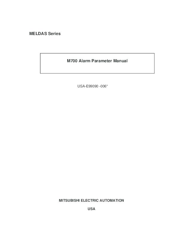 PDF) MITSUBISHI CNC 700 Series ALARM/PARAMETER MANUAL | Taddy kim