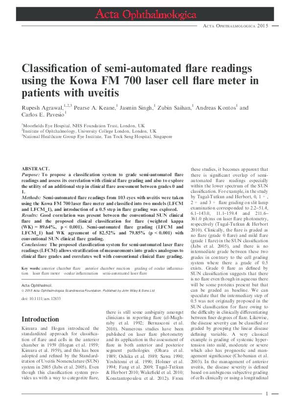 PDF) Classification of semi-automated flare readings using the Kowa