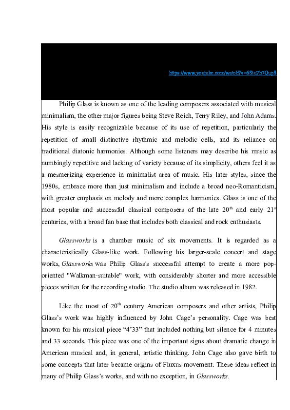 83ba12321bff Agnė Markevičiūtė. Short analytical paper on Philip Glass (1)