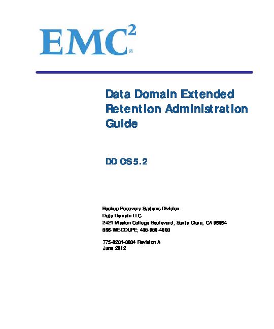 PDF) EMC Data Domain Extended Retention Administration Guide