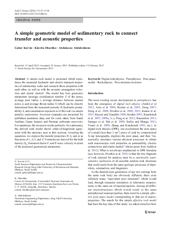 PDF) A simple geometric model of sedimentary rock to connect