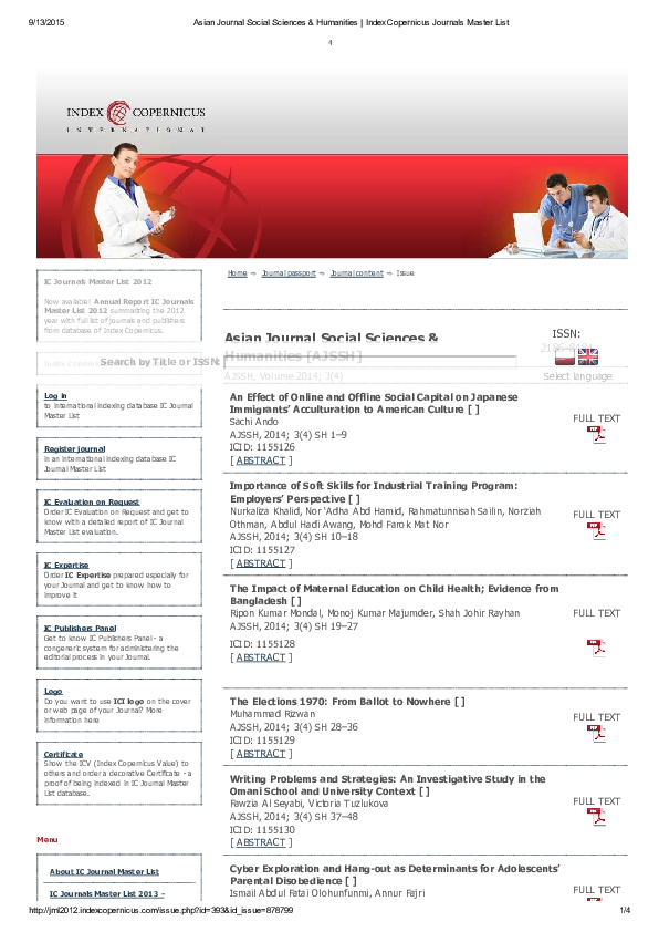 PDF) Asian Journal Social Sciences & Humanities Index