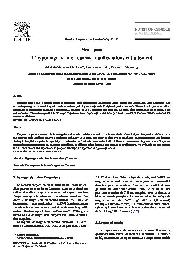 PDF) L'hypomagnésémie : causes, manifestations et traitement ...