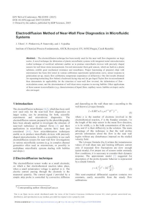 PDF) Electrodiffusion Method of Near-Wall Flow Diagnostics