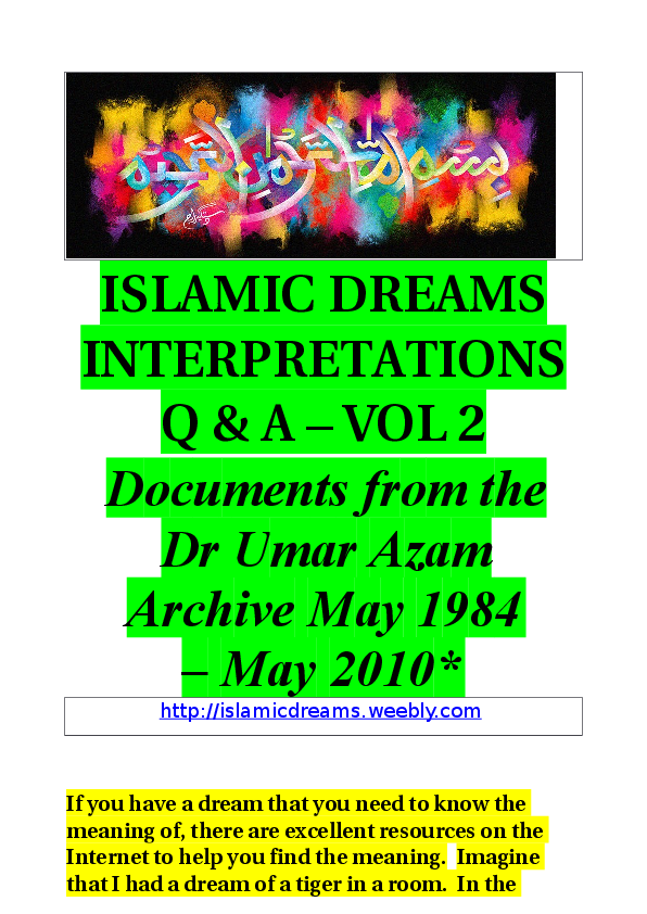 DOC) ISLAMIC DREAMS Q & A - VOL 2 | DR UMAR E AZAM - Academia edu