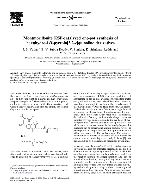 PDF) Montmorillonite KSF-catalyzed one-pot synthesis of hexahydro-1H
