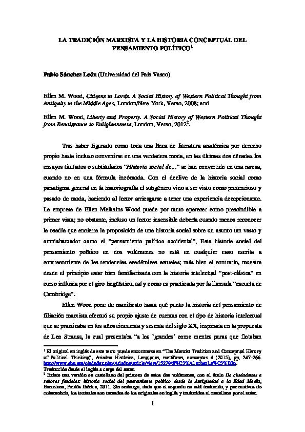 Pdf La Tradición Marxista Y La Historia Conceptual De La