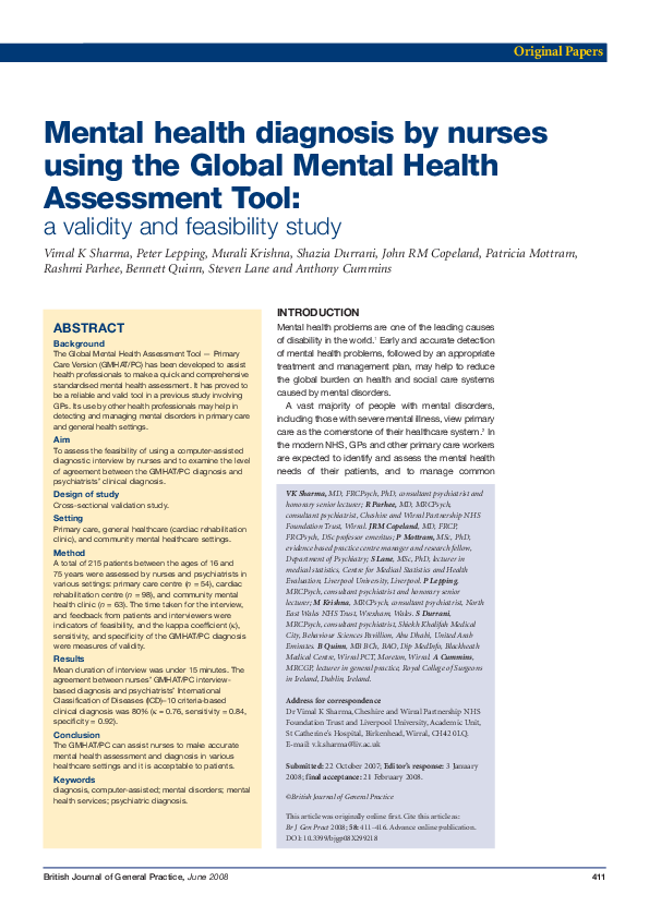 Pdf Mental Health Diagnosis By Nurses Using The Global Mental Health Assessment Tool A Validity And Feasibility Study John Copeland Academia Edu