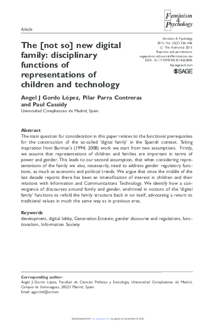 Pdf The Not So New Digital Family Disciplinary Functions