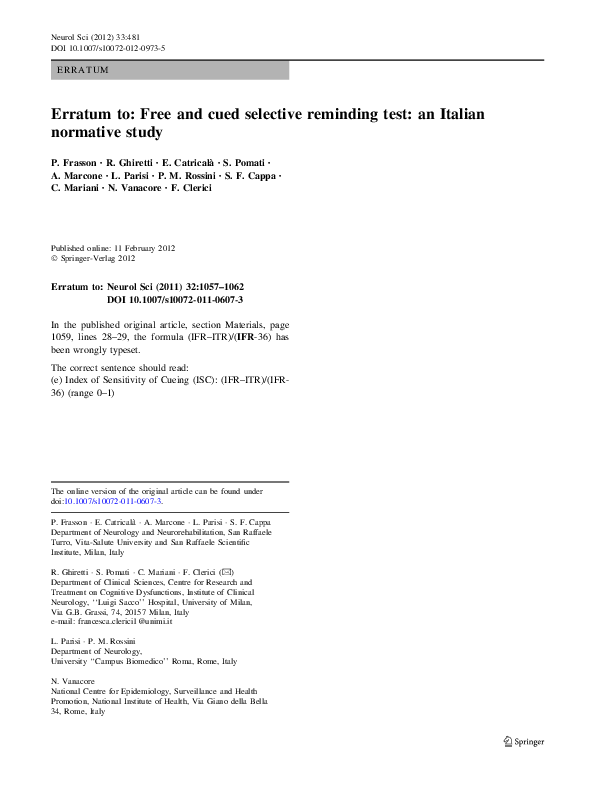 free and cued selective reminding test pdf