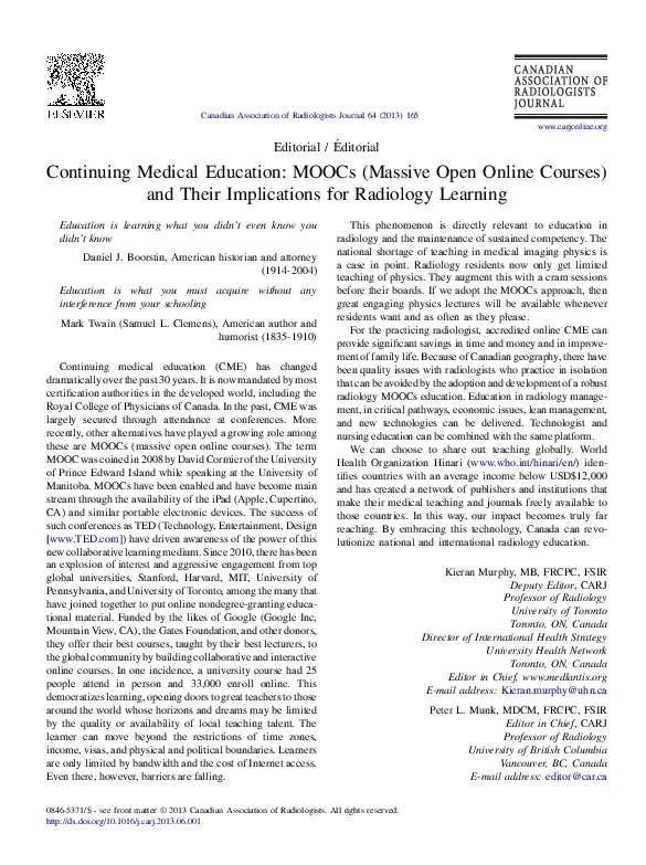 PDF) Continuing Medical Education: MOOCs (Massive Open