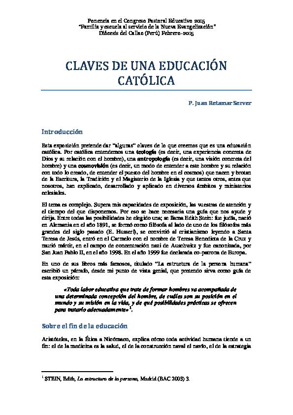 Pdf Claves Educativas De Una Escuela Católica Juan