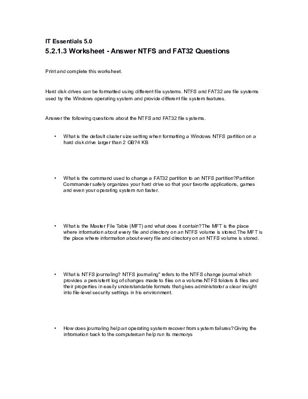 DOC) 5 2 1 3 Worksheet - Answer NTFS and FAT32 Questions