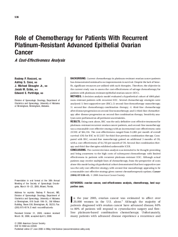 Pdf Role Of Chemotherapy For Patients With Recurrent Platinum Resistant Advanced Epithelial Ovarian Cancer Jacob Estes Academia Edu