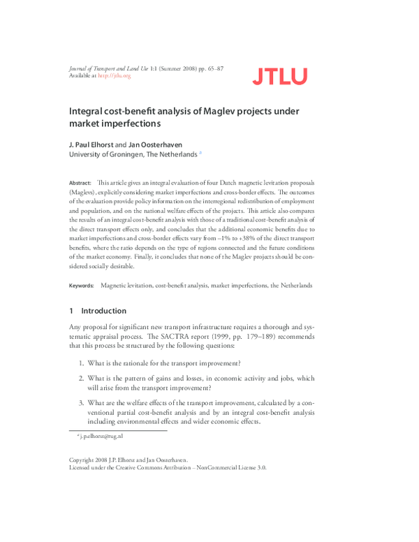 PDF) Integral cost-benefit analysis of Maglev technology under