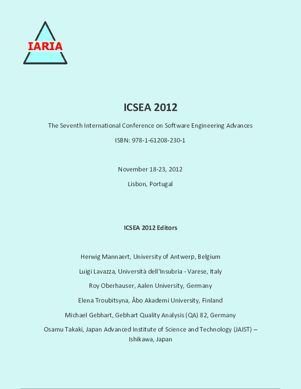 ICSEA 2012 - The Seventh International Conference on