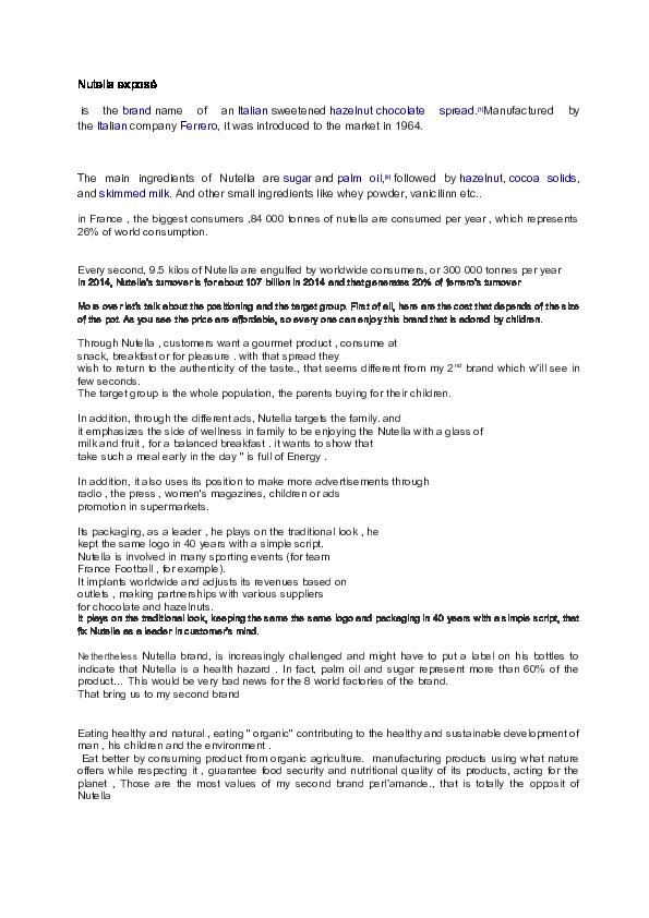 DOC) Nutella exposé | Hadrien UVON - Academia edu