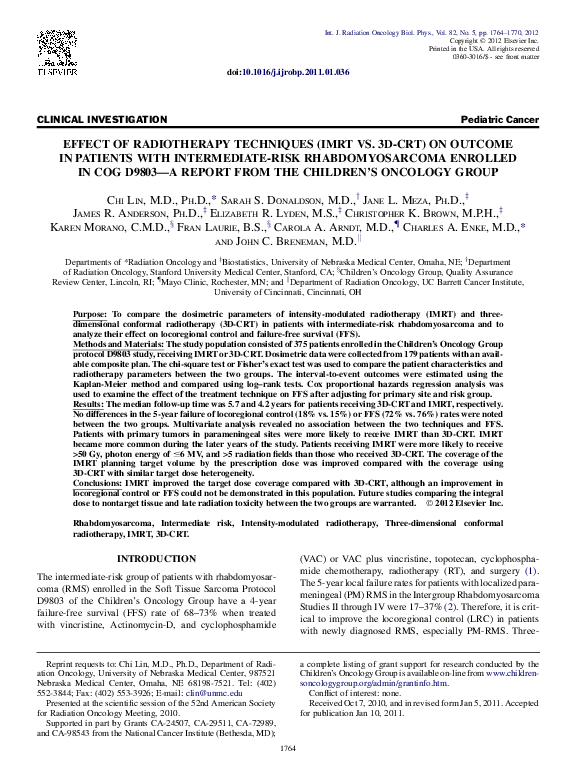 PDF) The Effect of Radiation Therapy Techniques (IMRT vs  3DCRT) on