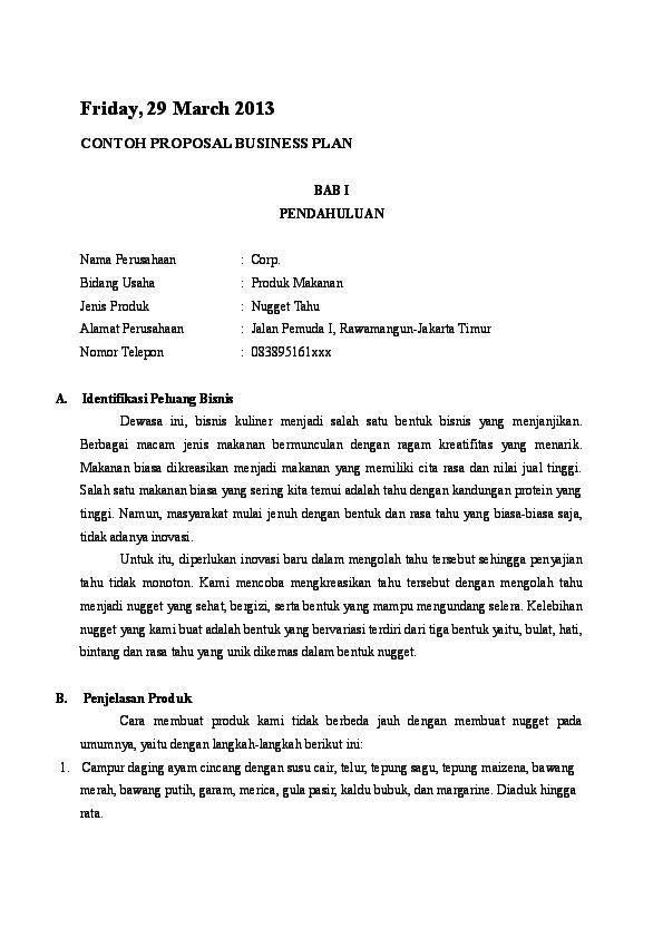 Doc Contoh Proposal Business Plan Grosir Batik Academia Edu