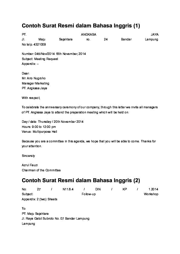 Doc Contoh Surat Resmi Dalam Bahasa Inggris Produk Gagal