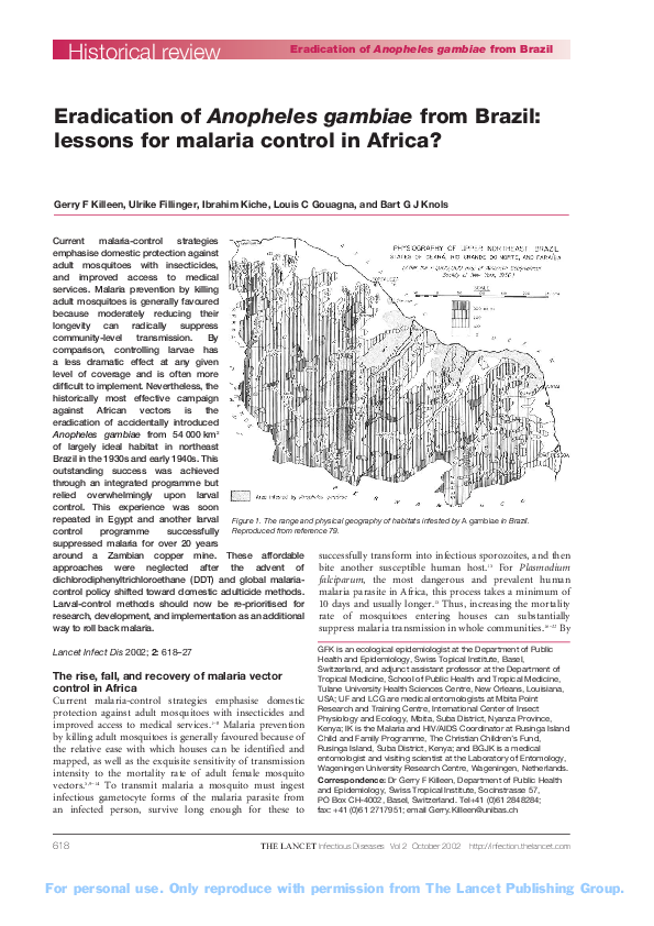 PDF) Eradication of Anopheles gambiae from Brazil: lessons for