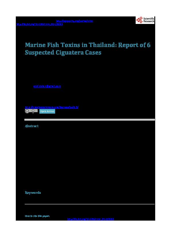 PDF) Marine Fish Toxins in Thailand: Report of 6 Suspected Ciguatera