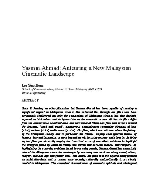 PDF) Yasmin Ahmad: Auteuring a New Malaysian Cinematic Landscape