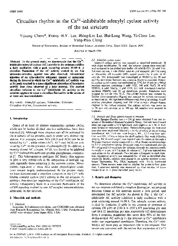 PDF) Circadian rhythm in the Ca2+-inhibitable adenylyl cyclase