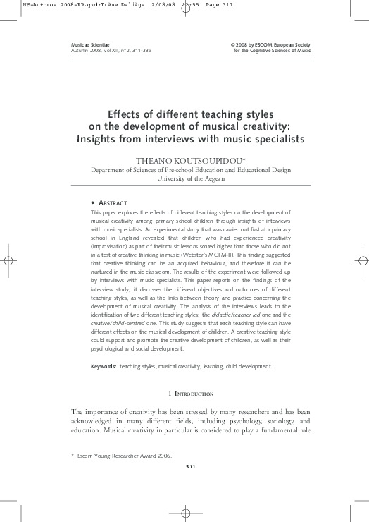 PDF) Effects of different teaching styles on the development