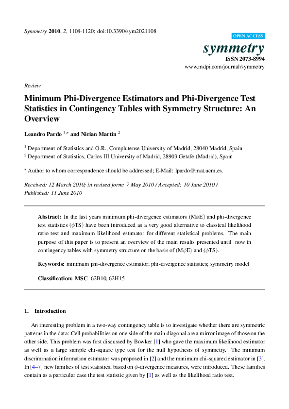 PDF) Minimum Phi-Divergence Estimators and Phi-Divergence