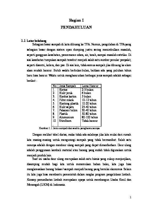 Contoh Proposal Usaha Kerajinan Dari Bahan Limbah Berbentuk Bangun Datar Berbagi Contoh Proposal