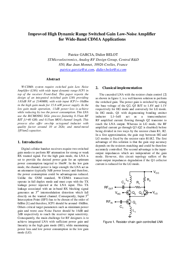 PDF) Improved high dynamic range switched gain low-noise