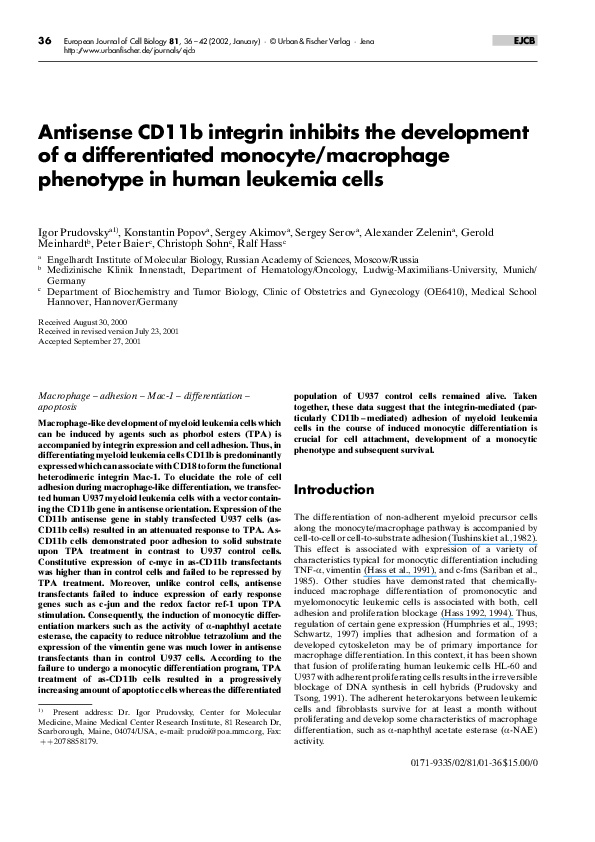 PDF) Antisense CD11b integrin inhibits the development of a
