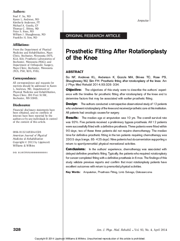 PDF) Prosthetic Fitting After Rotationplasty of the Knee