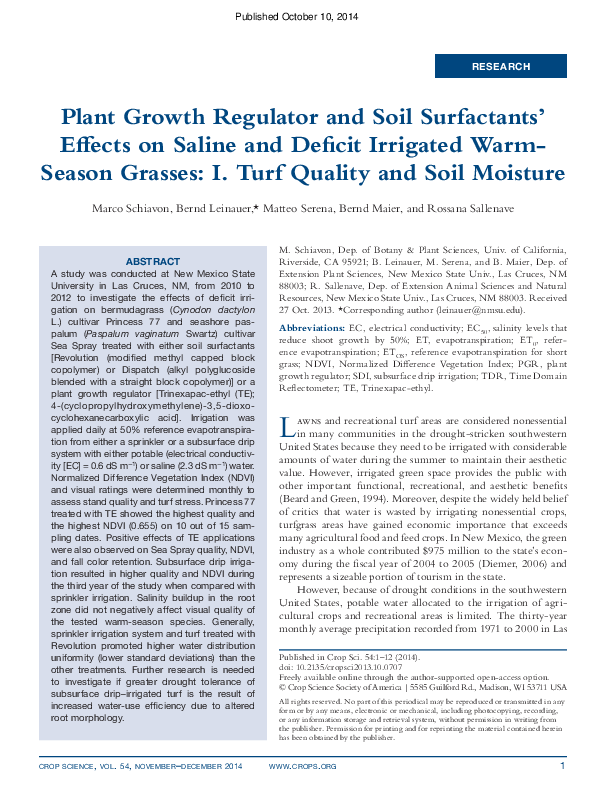 PDF) Plant Growth Regulator and Soil Surfactants' Effects on