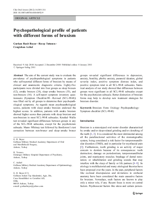 Psychopathological Profile Of Patients With Different Forms
