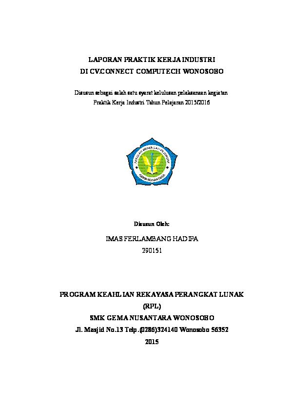 Doc Contoh Laporan Prakerin Tentang Rpl Lambang Hadipa Academia Edu