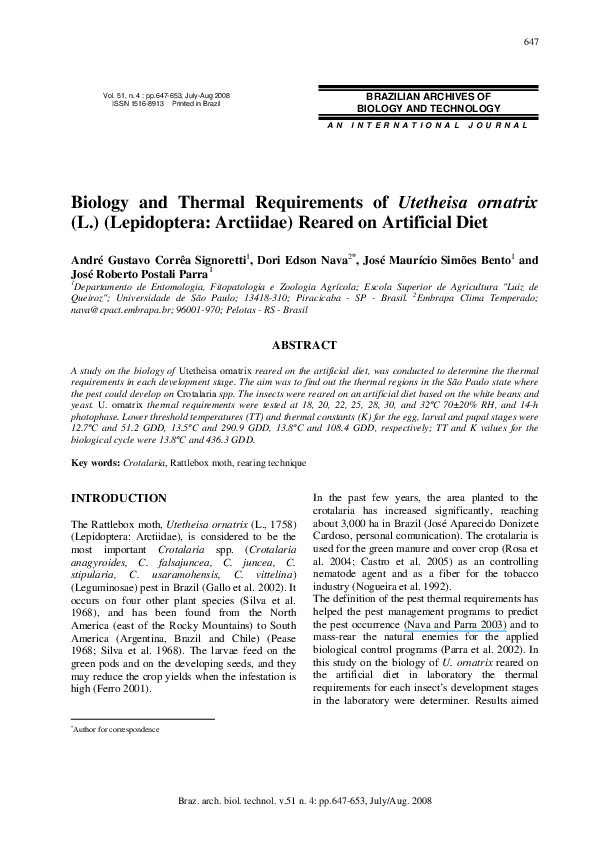 PDF) Biology and thermal requirements of Utetheisa ornatrix