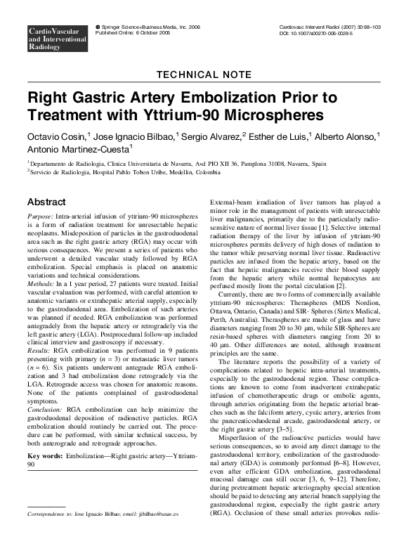 PDF Right Gastric Artery Embolization Prior To Treatment With
